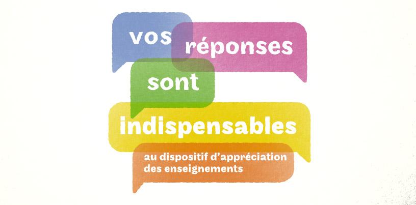 Vos réponses sont indispensables ua processus d'appréciation des enseignements